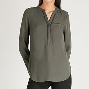 Warehouse PIPED DETAIL BLOUSE in Khaki